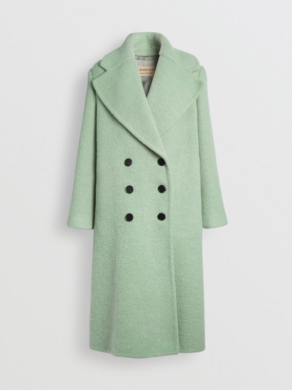 Double-faced Wool Alpaca Blend Cocoon Coat in Celadon Green - Women | Burberry - cell image 3