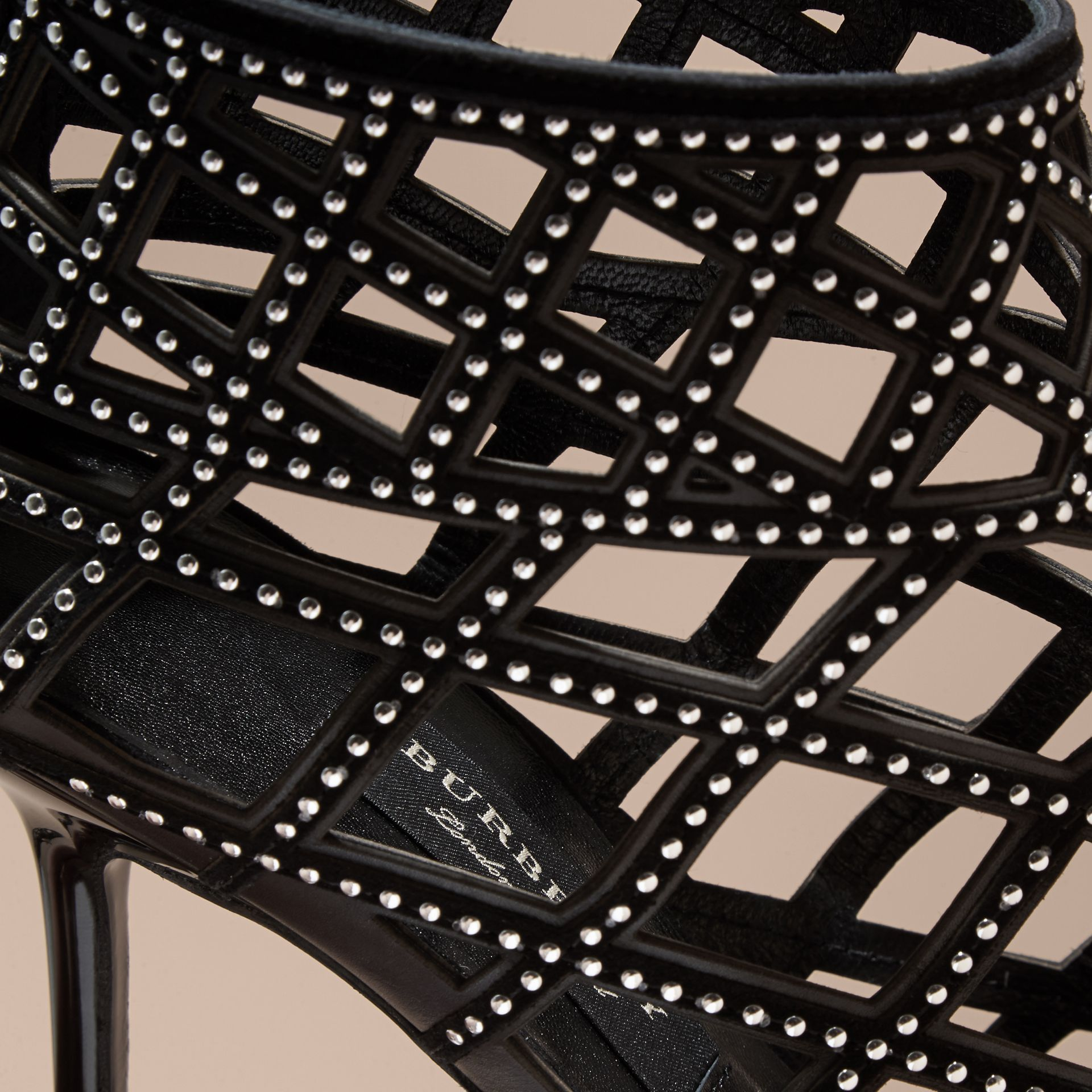Black Studded Cut-out Leather Peep-toe Ankle Boots - gallery image 2