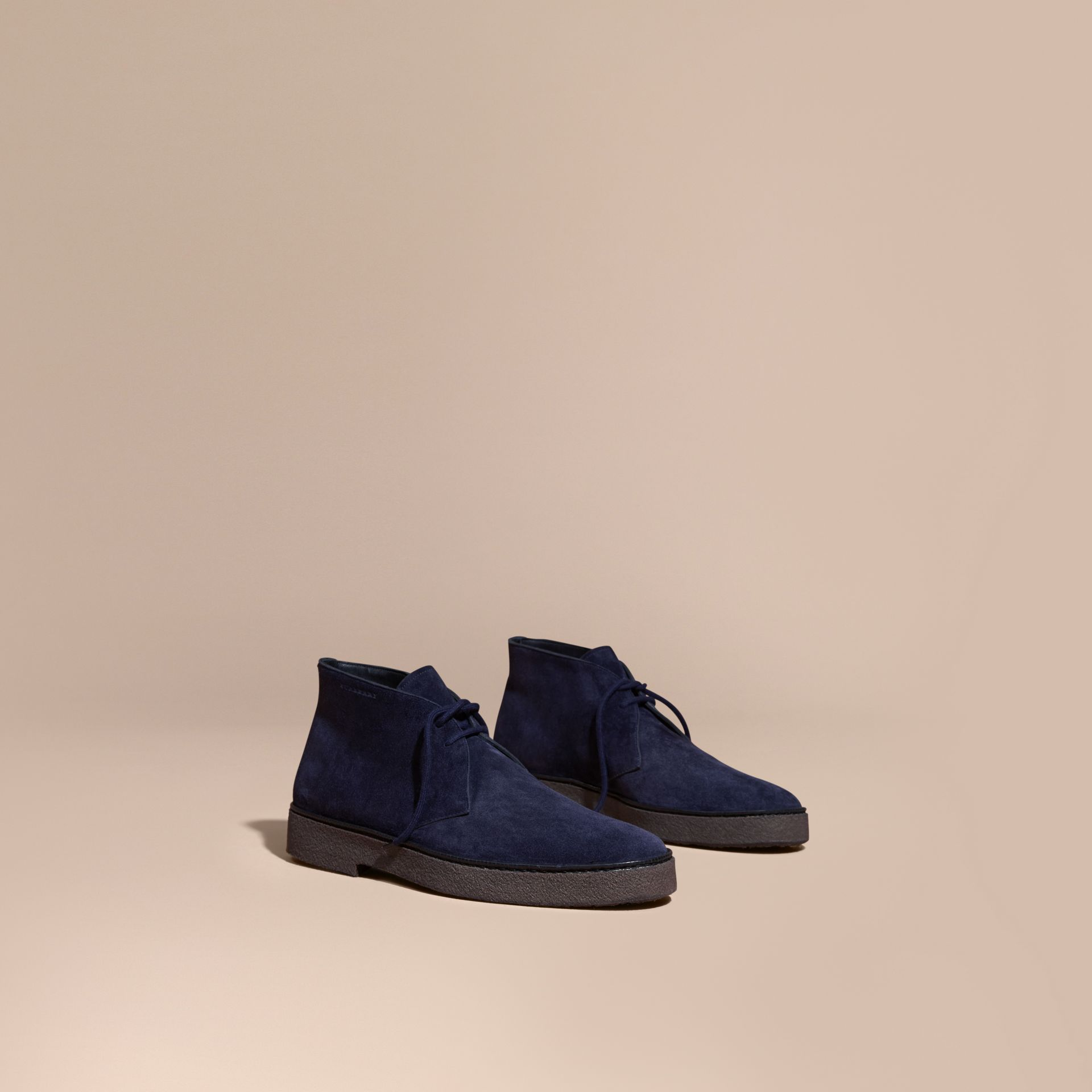 Crepe Sole Suede Desert Boots in Navy - gallery image 1