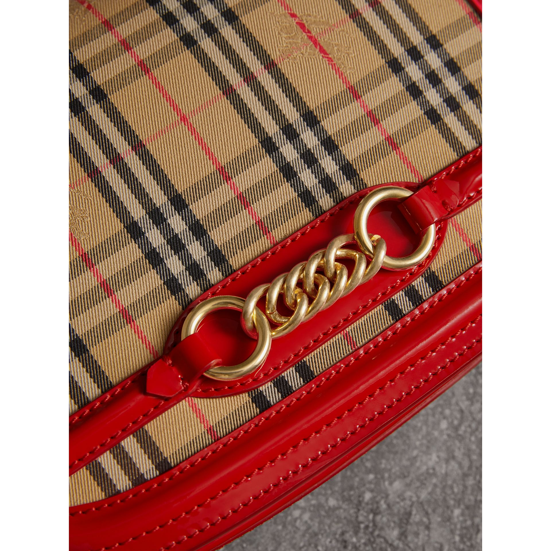 The 1983 Check Link Bag with Patent Trim in Bright Red - Women | Burberry United Kingdom - gallery image 1