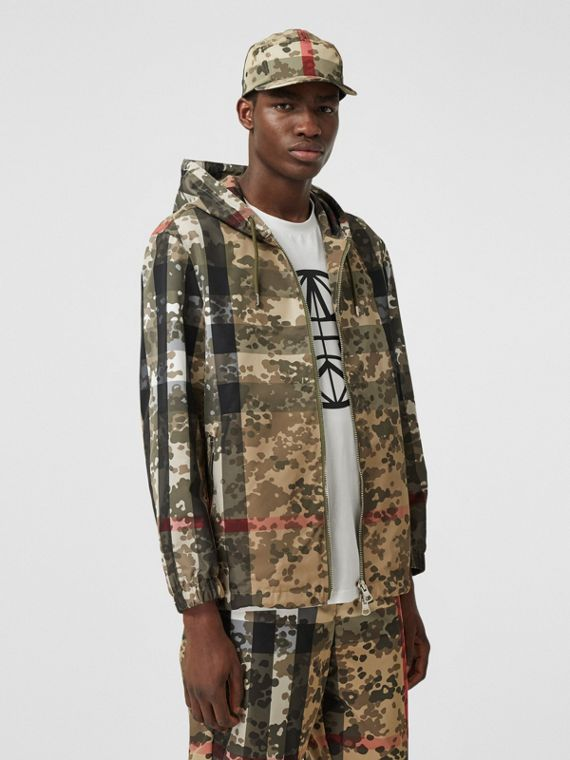 Camouflage Check Nylon Hooded Jacket in Archive Beige