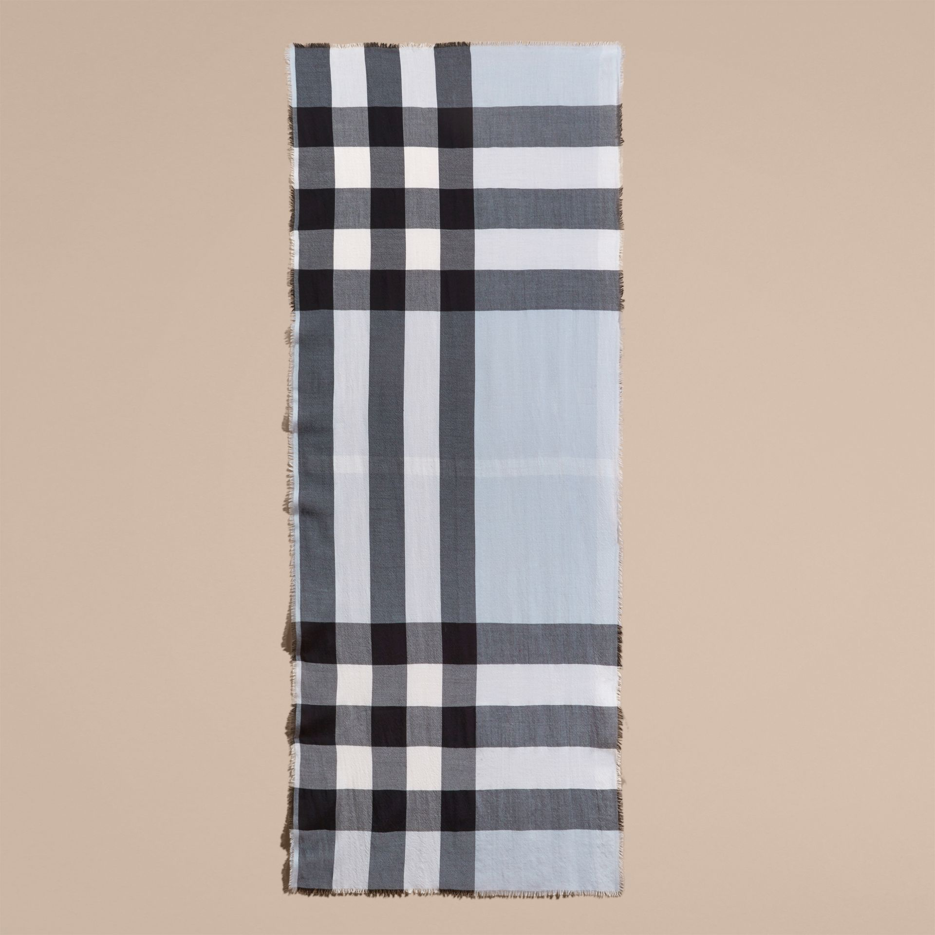 The Lightweight Cashmere Scarf in Check Dusty Blue - gallery image 5