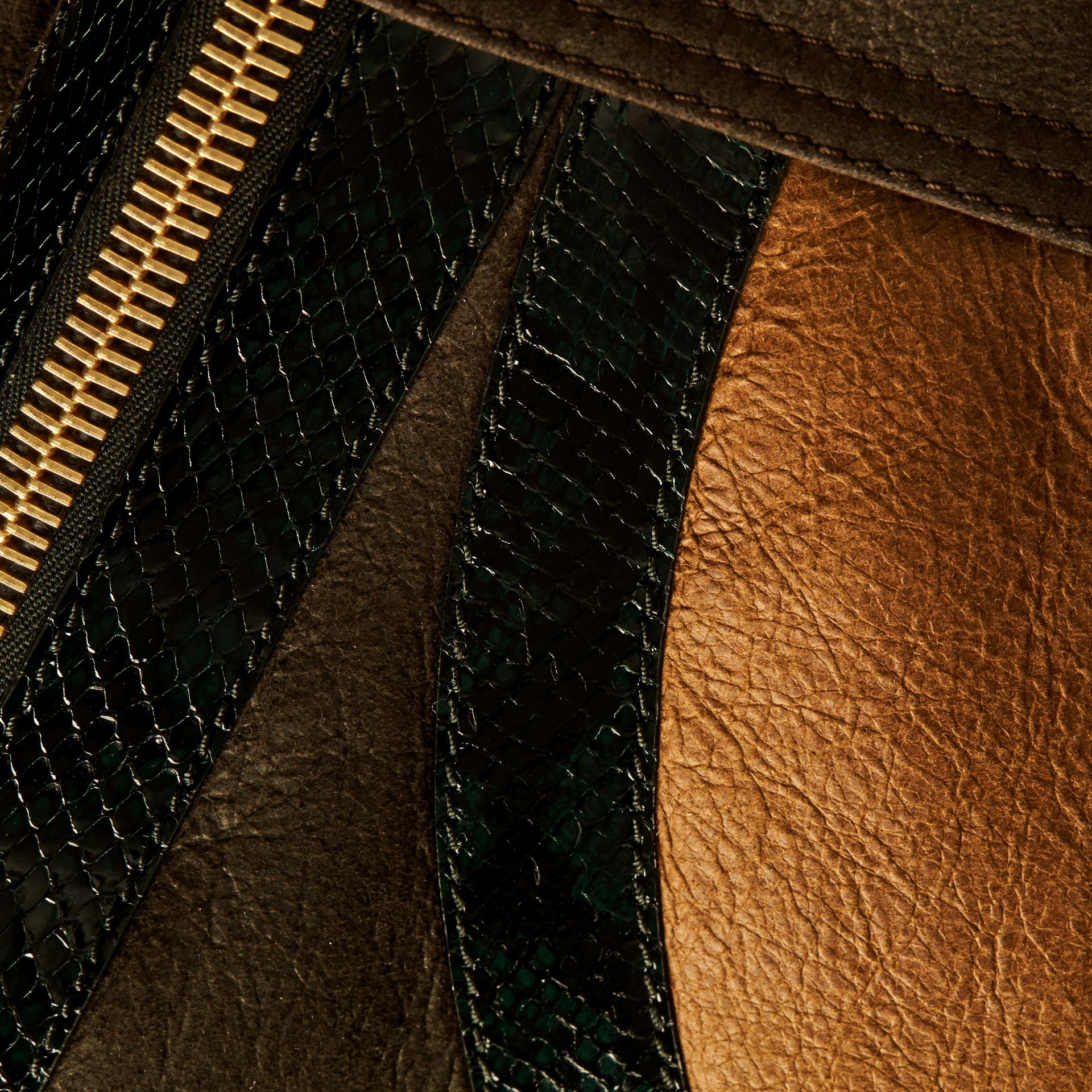 Dark brown/white Shearling Aviator with Snakeskin Panels - gallery image 2