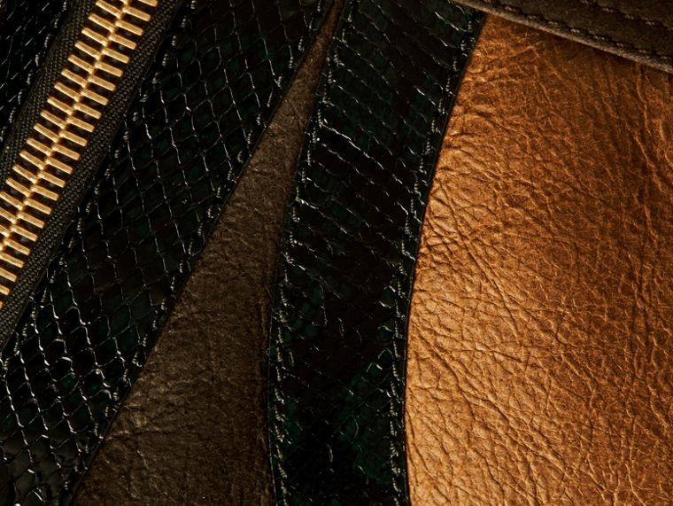 Dark brown/white Shearling Aviator with Snakeskin Panels - cell image 1