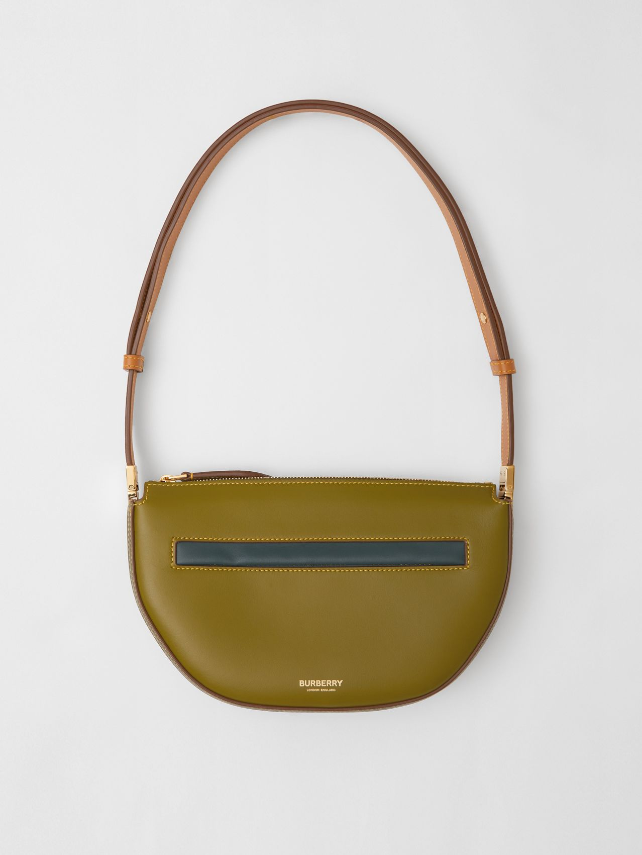 Mini Colour Block Leather Zip Olympia Bag in Juniper Green