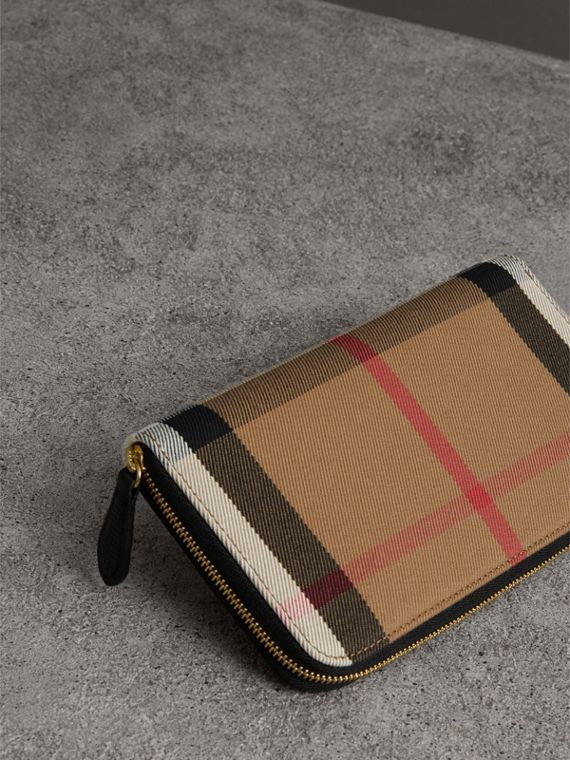 House Check and Leather Ziparound Wallet in Black - Women | Burberry Australia - cell image 2
