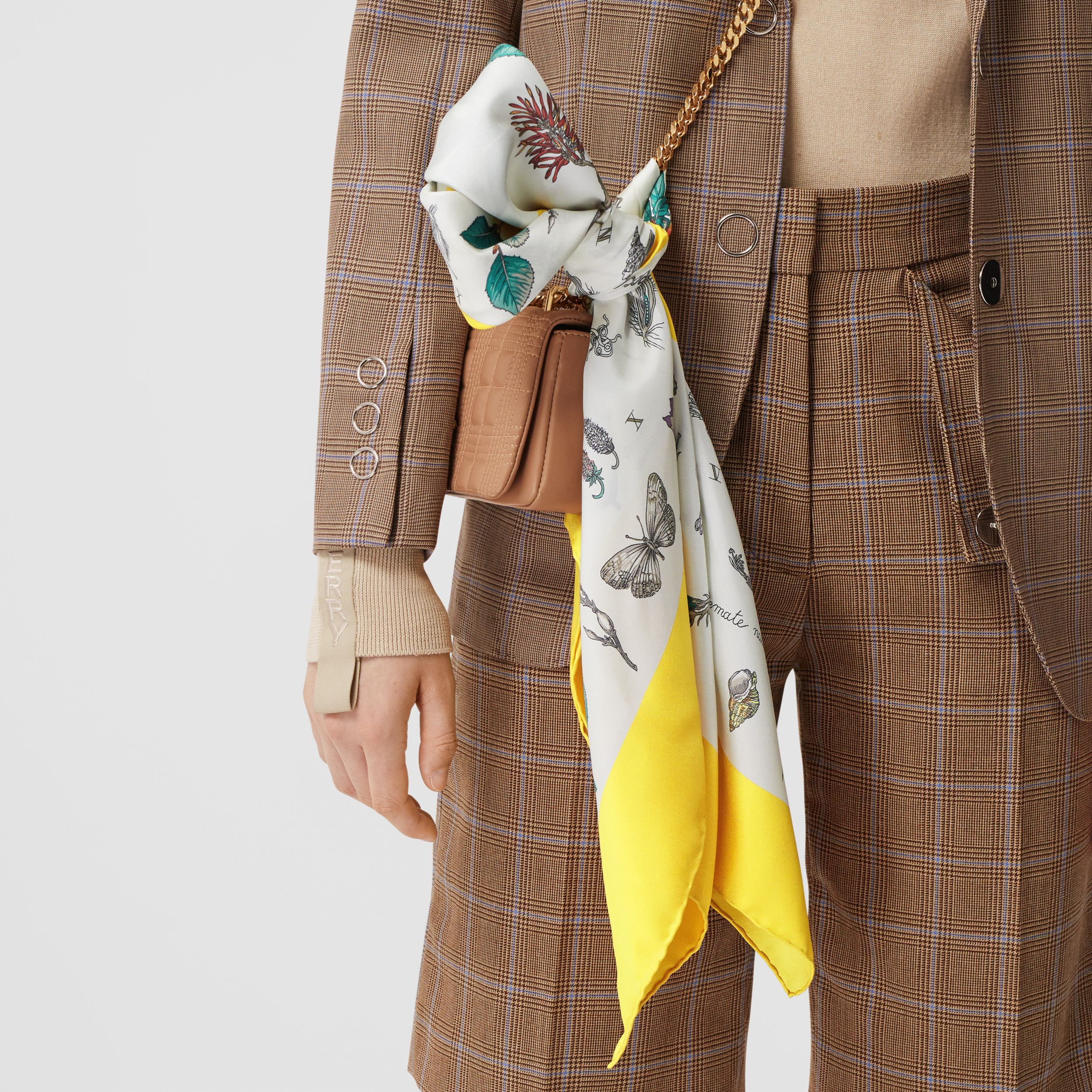 Botanical Print Silk Square Scarf in Yellow | Burberry Hong Kong S.A.R. - 3