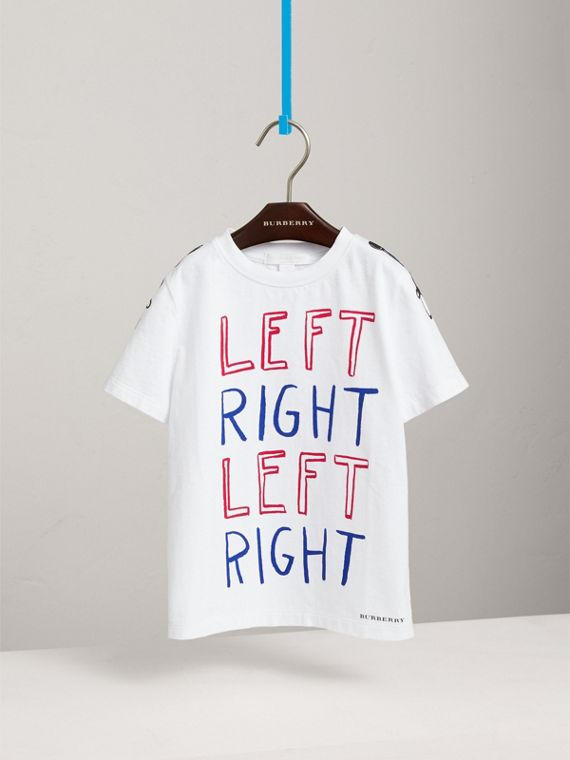 Left Right Print Cotton T-shirt in White - Boy | Burberry - cell image 2