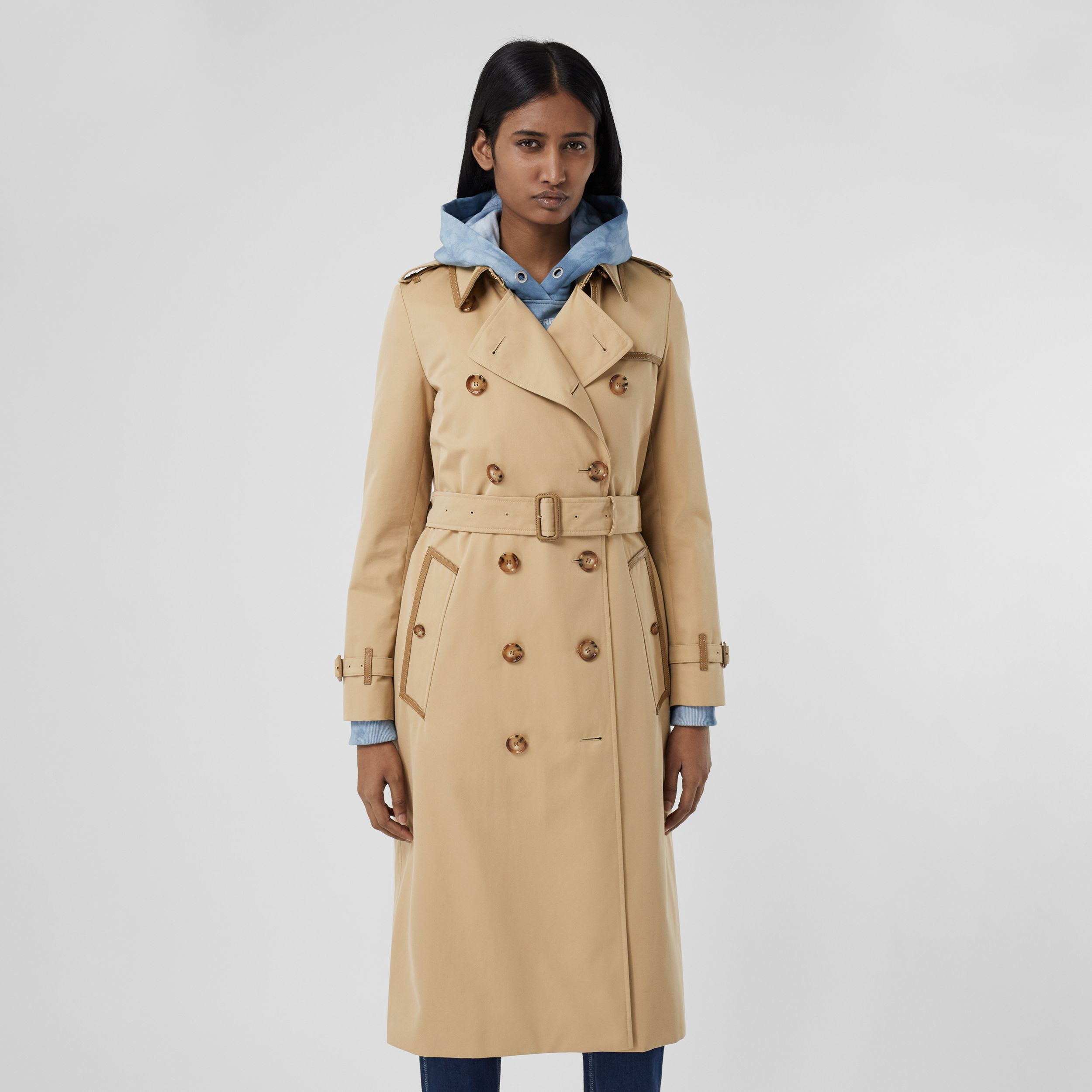 Leather Trim Cotton Gabardine Trench Coat in Honey - Women | Burberry United States - 1