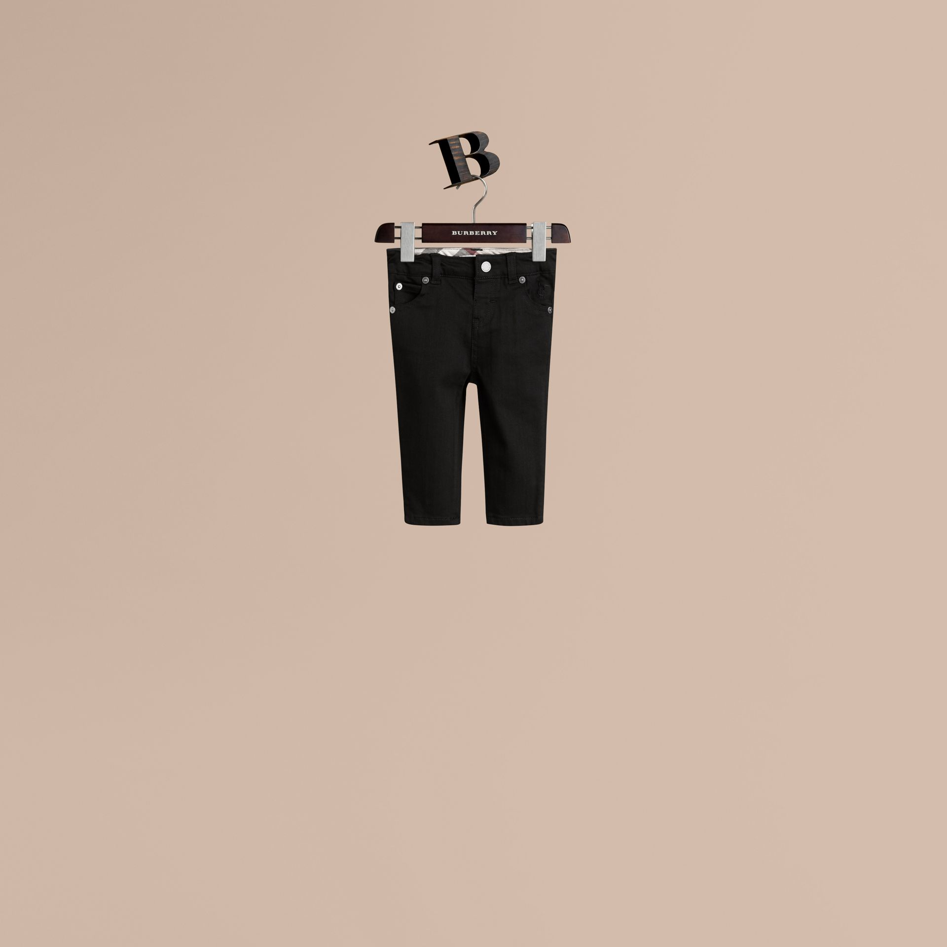 Stretch Denim Jeans in Black - Boy | Burberry Hong Kong - gallery image 1