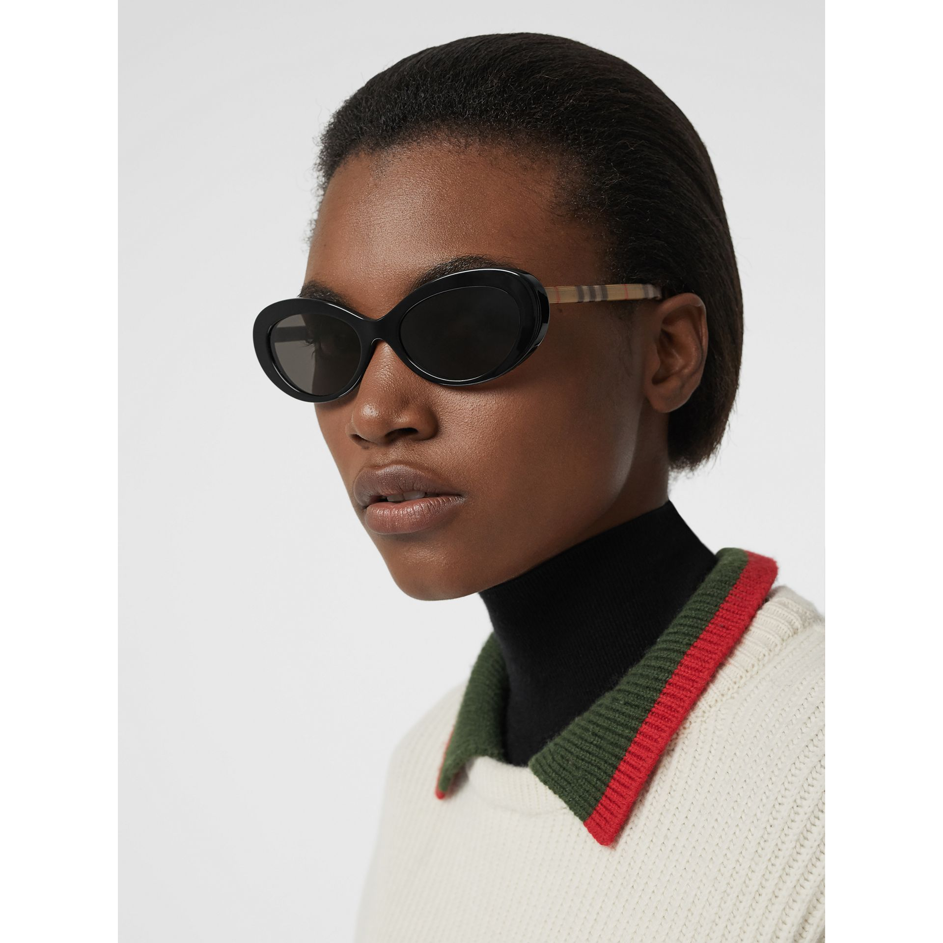 Vintage Check Detail Cat-eye Frame Sunglasses in Black - Women | Burberry United Kingdom - gallery image 2