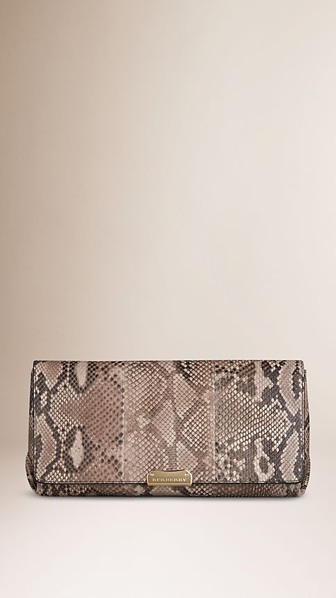 Trench Medium Python Clutch Bag - Image 1