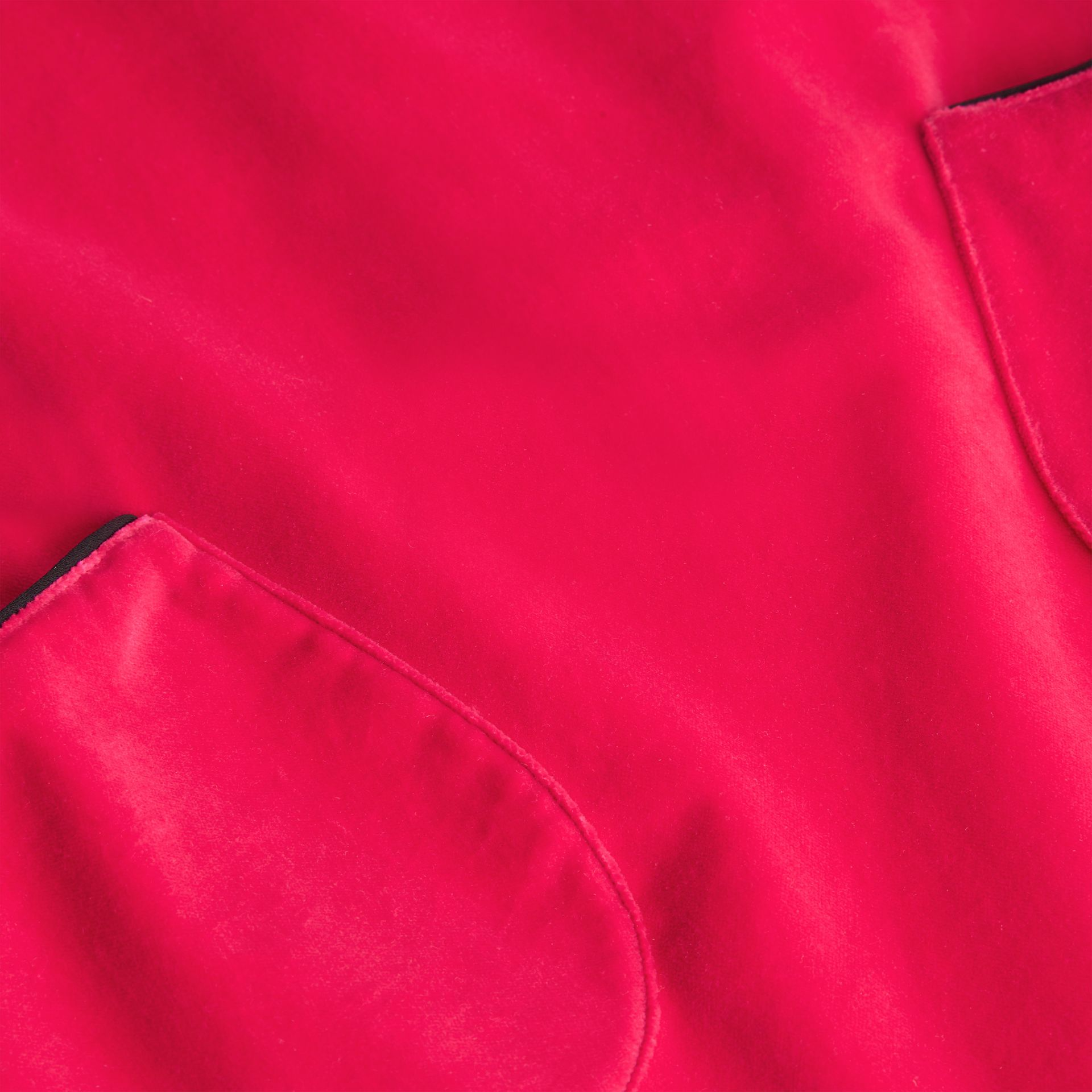 Piping Detail Velvet Shift Dress in Raspberry | Burberry Singapore - gallery image 1
