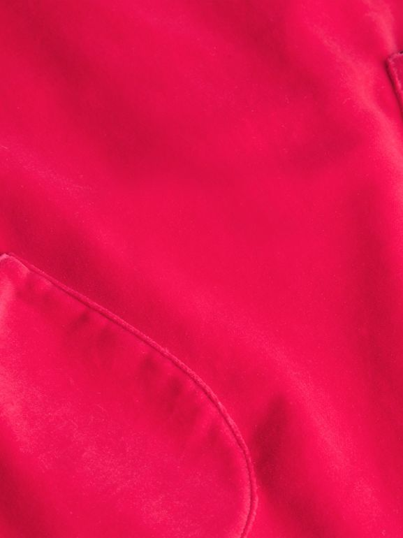 Piping Detail Velvet Shift Dress in Raspberry | Burberry United Kingdom - cell image 1