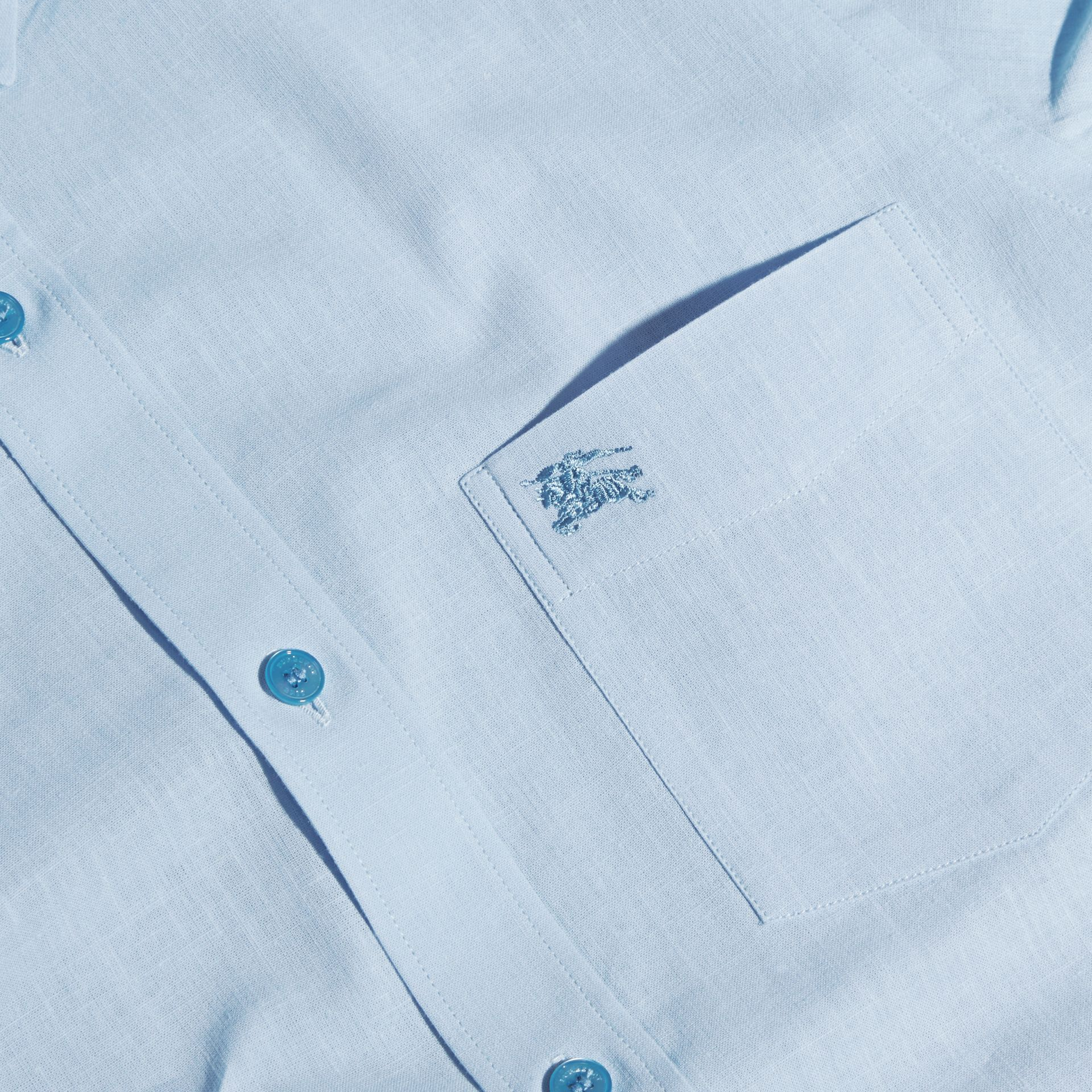 Pale blue Button-down Collar Cotton Linen Shirt Pale Blue - gallery image 2