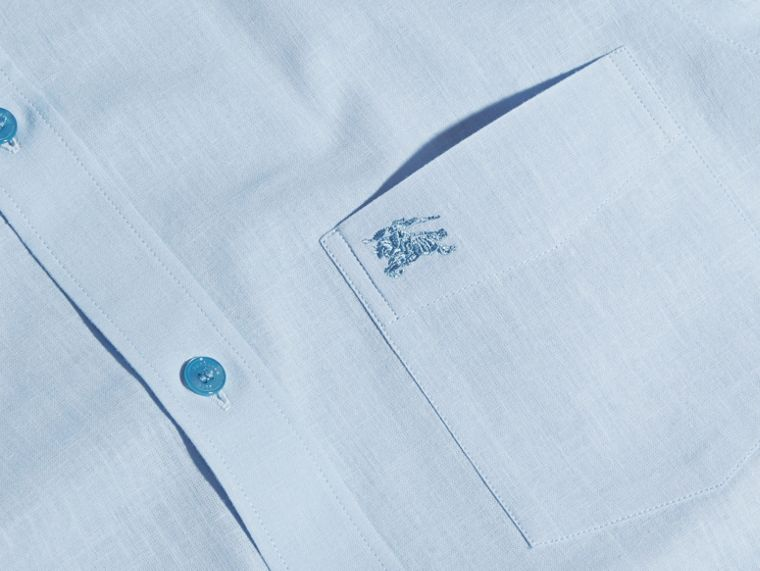 Pale blue Button-down Collar Cotton Linen Shirt Pale Blue - cell image 1