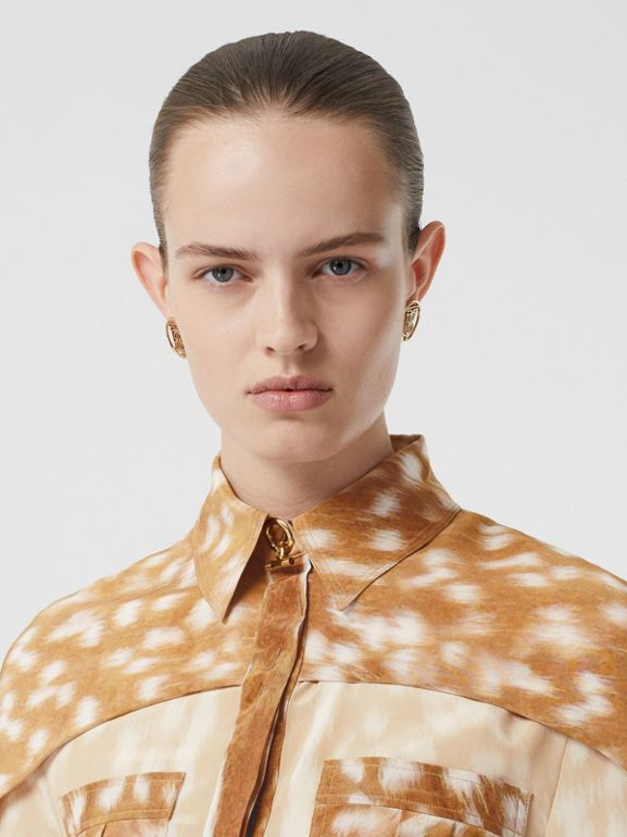 Cape Sleeve Deer Print Silk Shirt in Soft Fawn - Women | Burberry United Kingdom - cell image 1