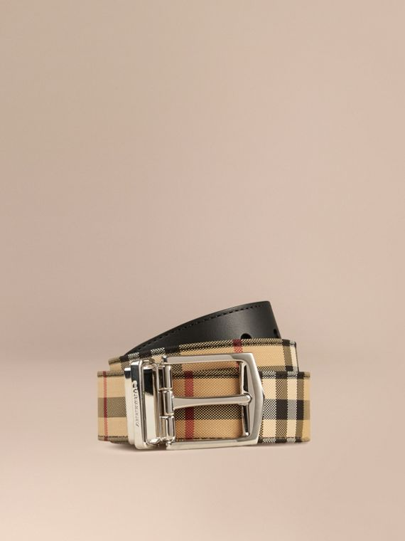 Reversible Horseferry Check and Leather Belt Black