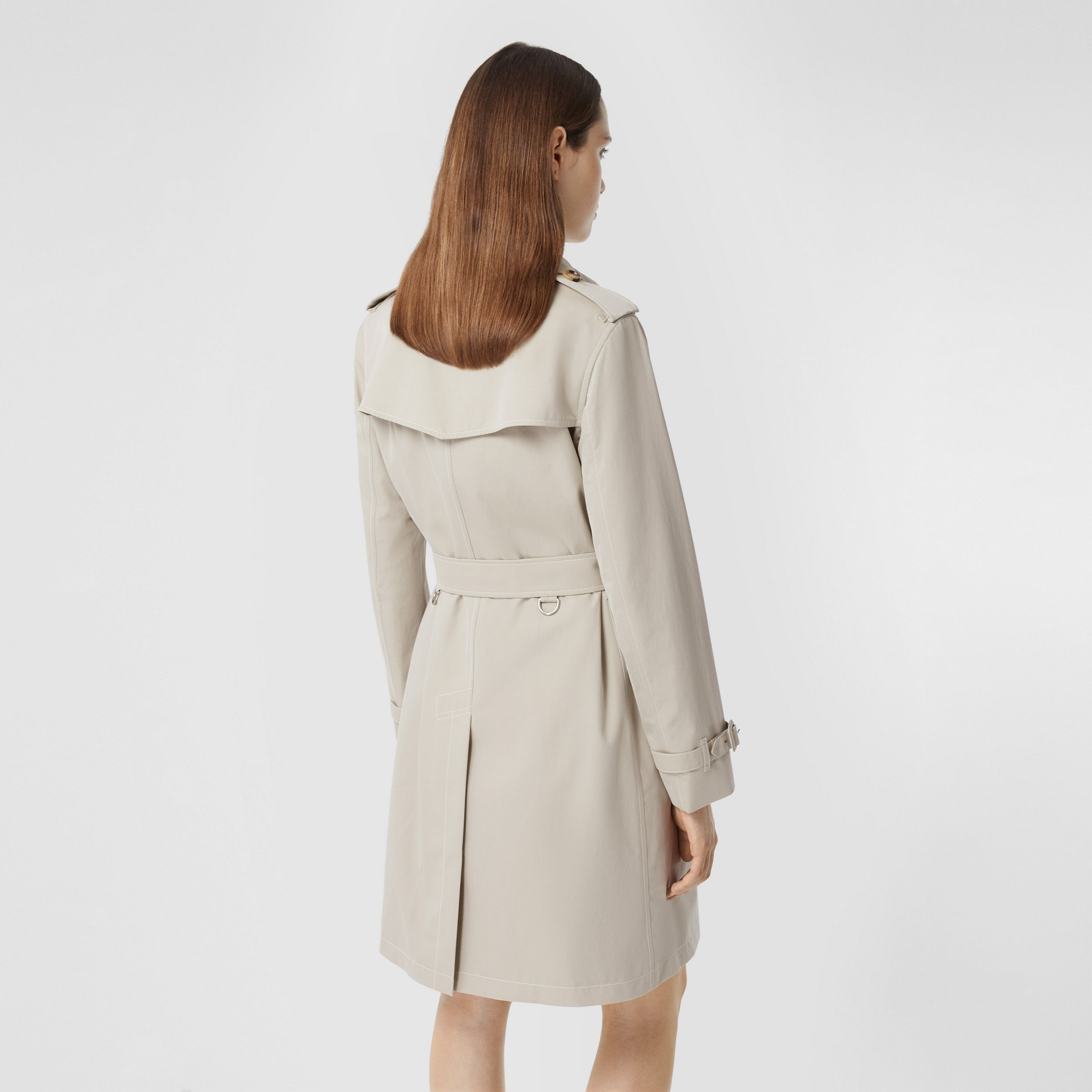 Topstitched Tropical Gabardine Trench Coat in Stone - Women | Burberry - 3