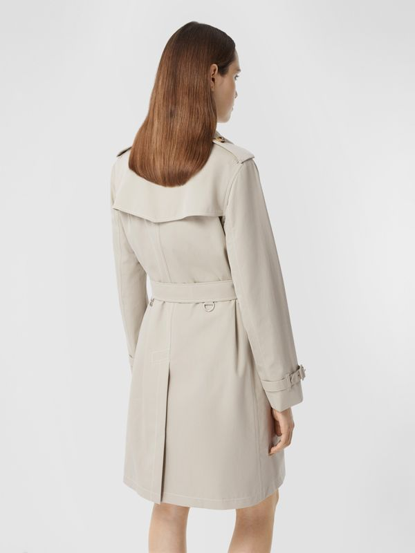 Topstitched Tropical Gabardine Trench Coat in Stone - Women | Burberry - cell image 2