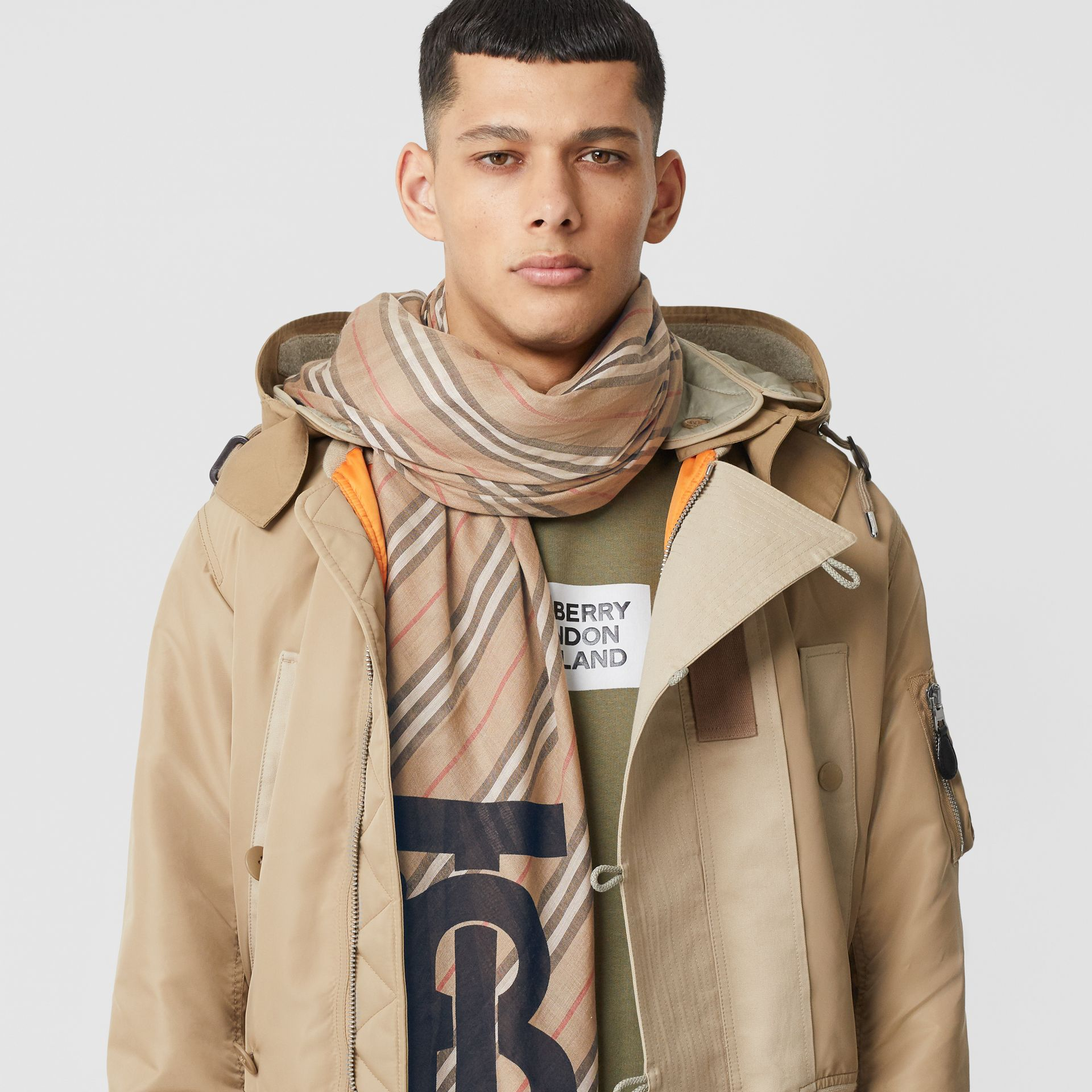 Monogram Icon Stripe Wool Silk Large Square Scarf in Archive Beige | Burberry Singapore - gallery image 3