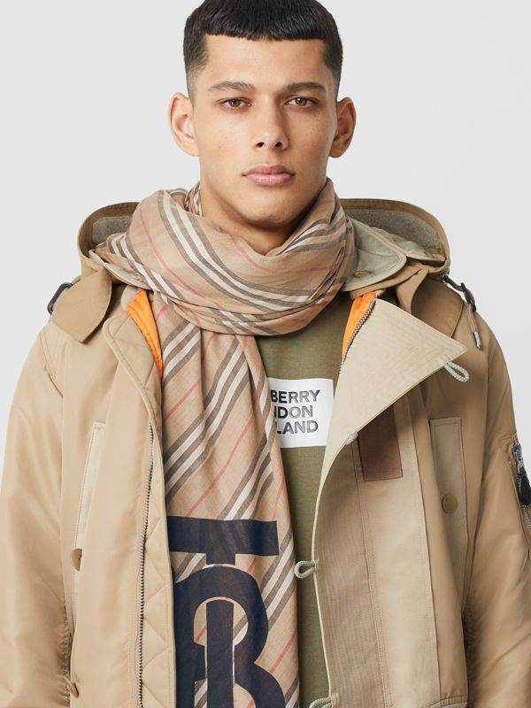Monogram Icon Stripe Wool Silk Large Square Scarf in Archive Beige | Burberry - cell image 3