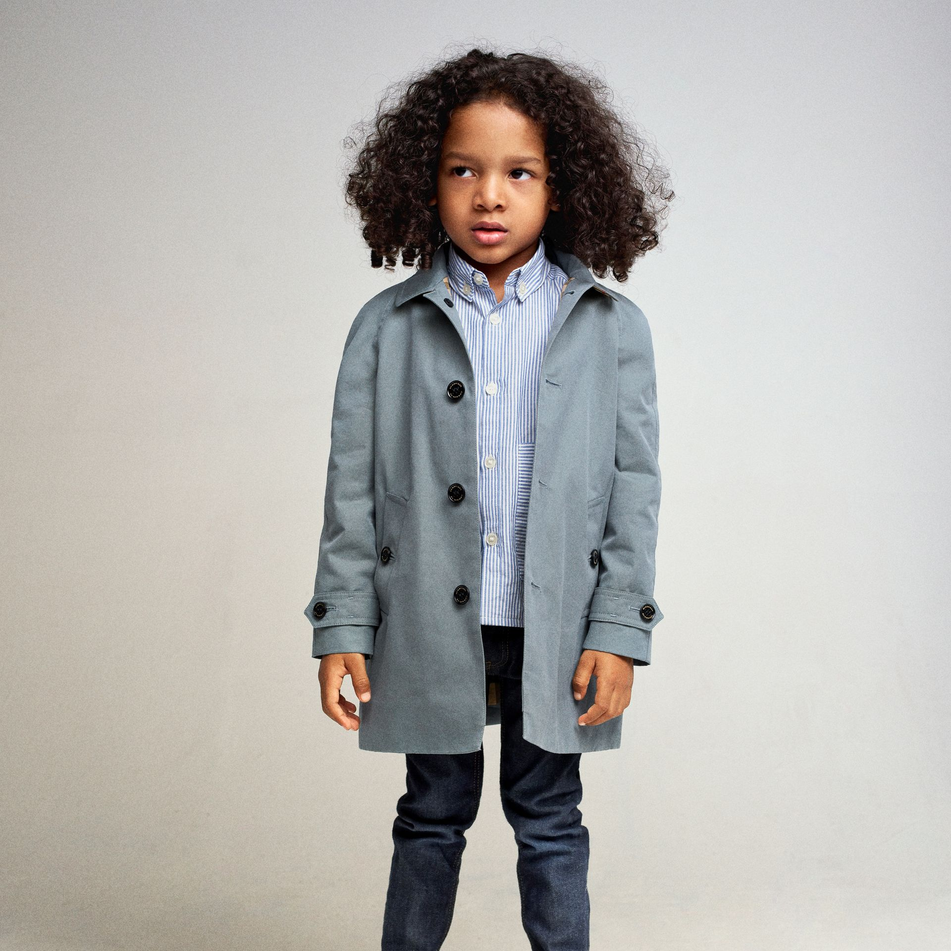 Tropical Gabardine Car Coat in Dusty Blue - Boy | Burberry - gallery image 5