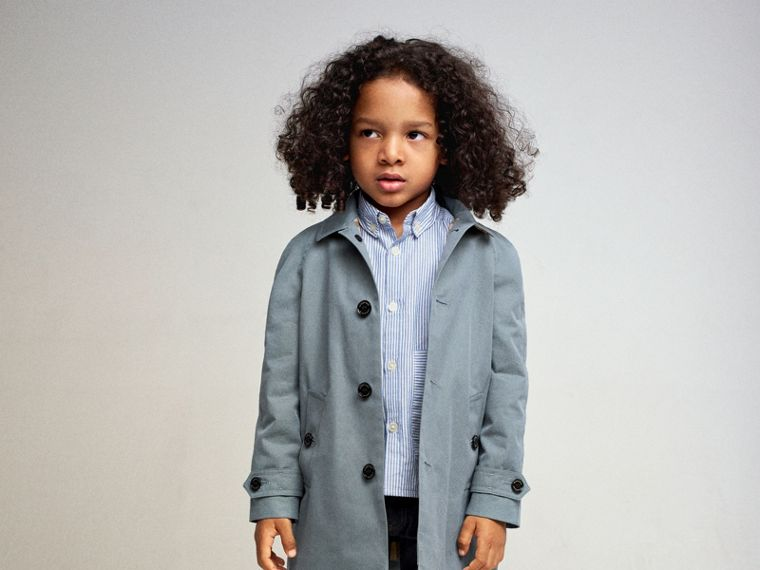 Tropical Gabardine Car Coat in Dusty Blue - Boy | Burberry - cell image 4