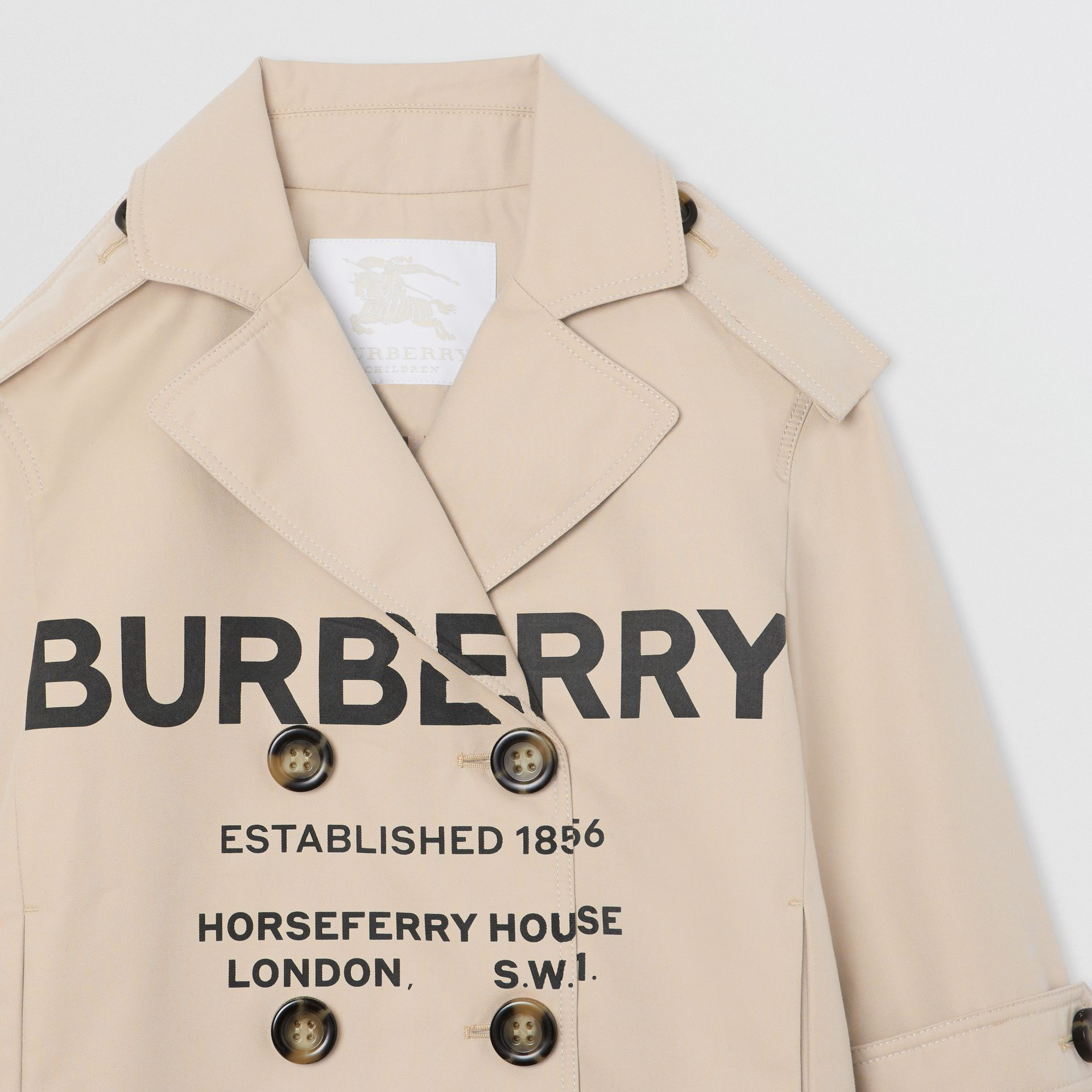 Horseferry Print Cotton Gabardine Trench Coat in Stone | Burberry - gallery image 4
