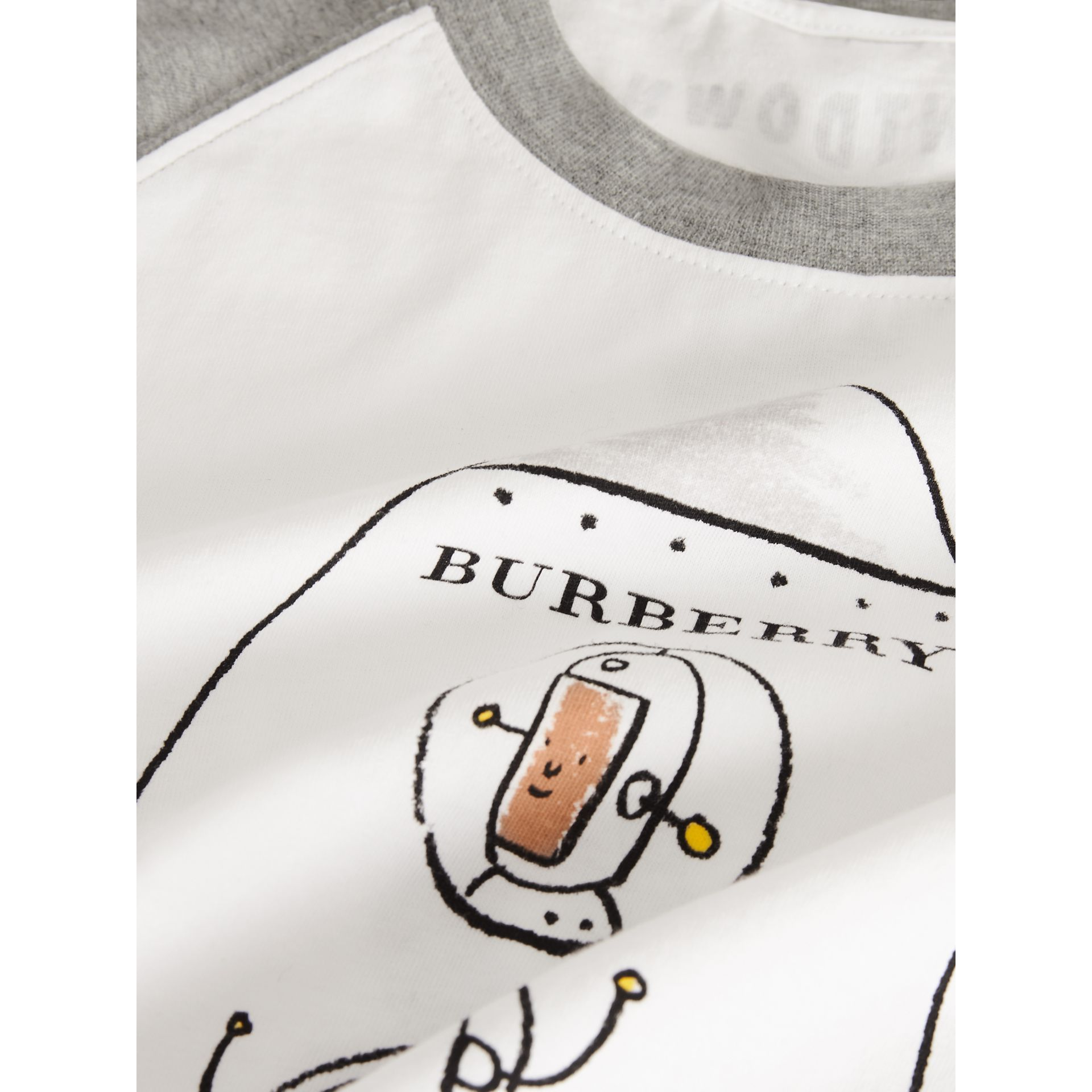 Long-sleeve Rocket Graphic Cotton T-shirt in White | Burberry United Kingdom - gallery image 4