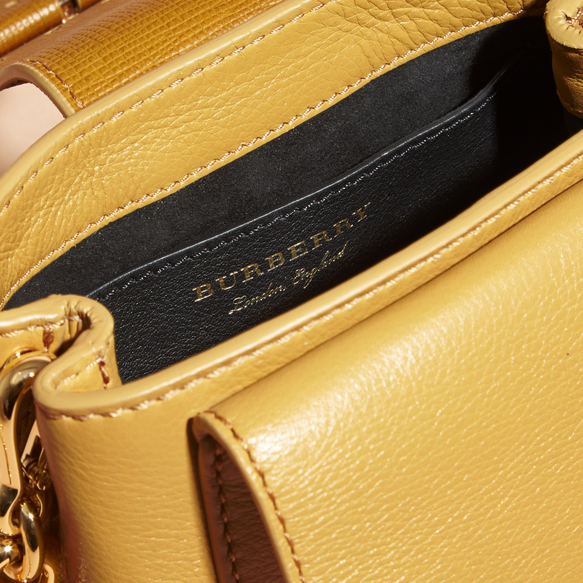 Ochre yellow The Small Square Buckle Bag in Leather - gallery image 6