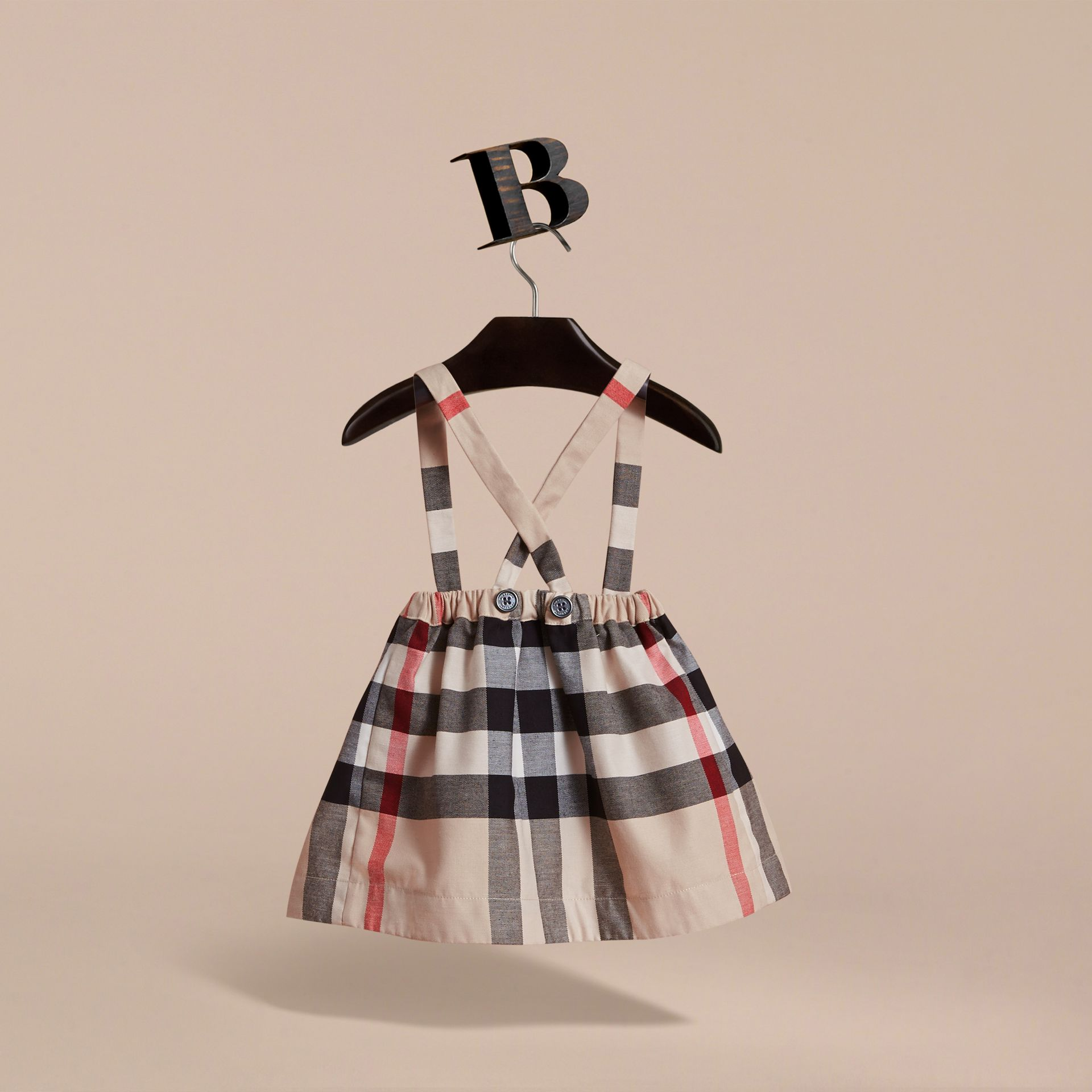 Detachable Strap Check Cotton Skirt in Stone | Burberry - gallery image 4