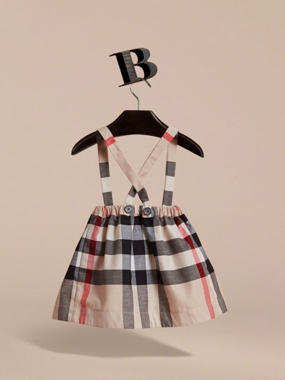 Detachable Strap Check Cotton Skirt in Stone | Burberry - cell image 3