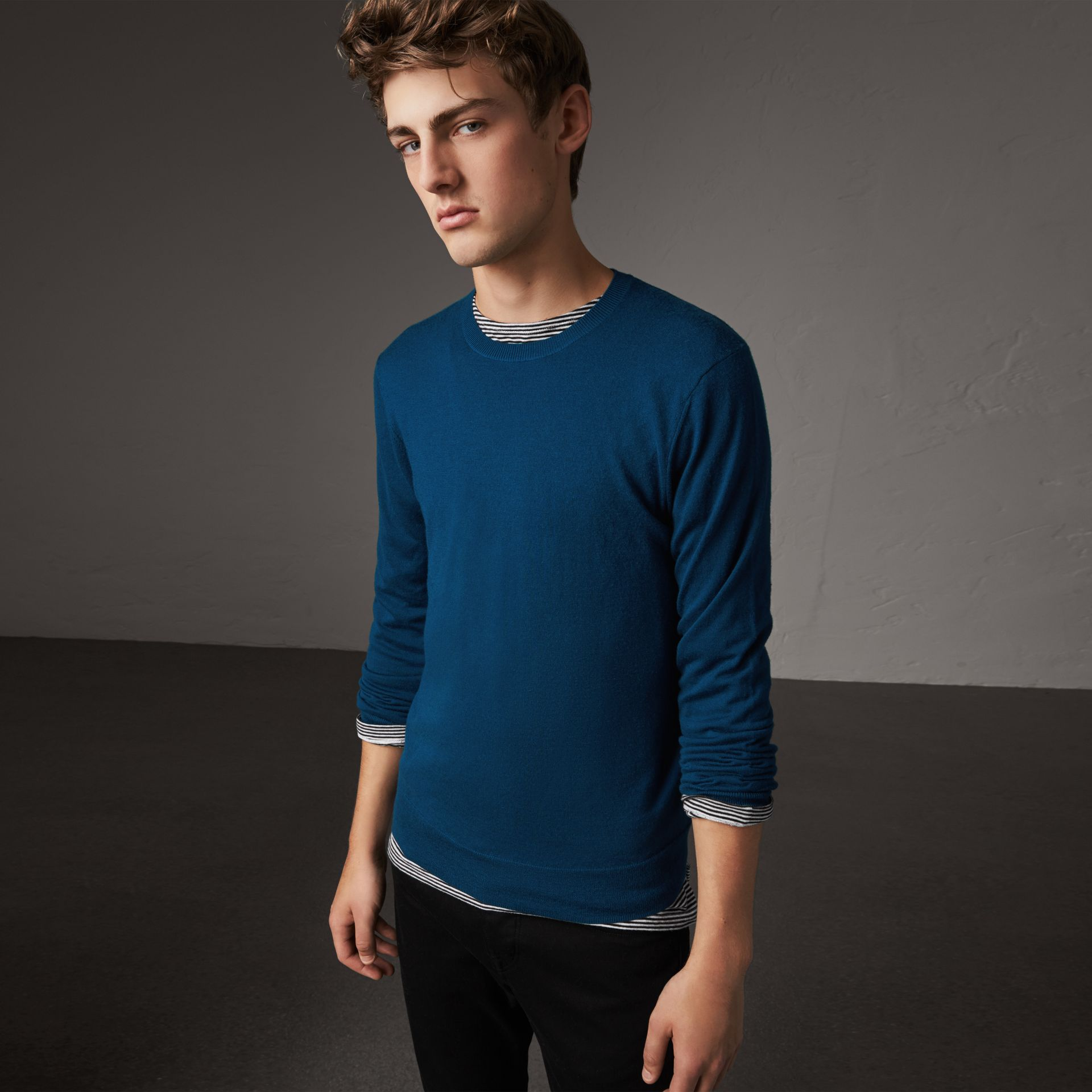 Check Jacquard Detail Cashmere Sweater in Dark Teal - Men | Burberry - gallery image 0