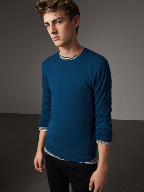 Check Jacquard Detail Cashmere Sweater in Dark Teal