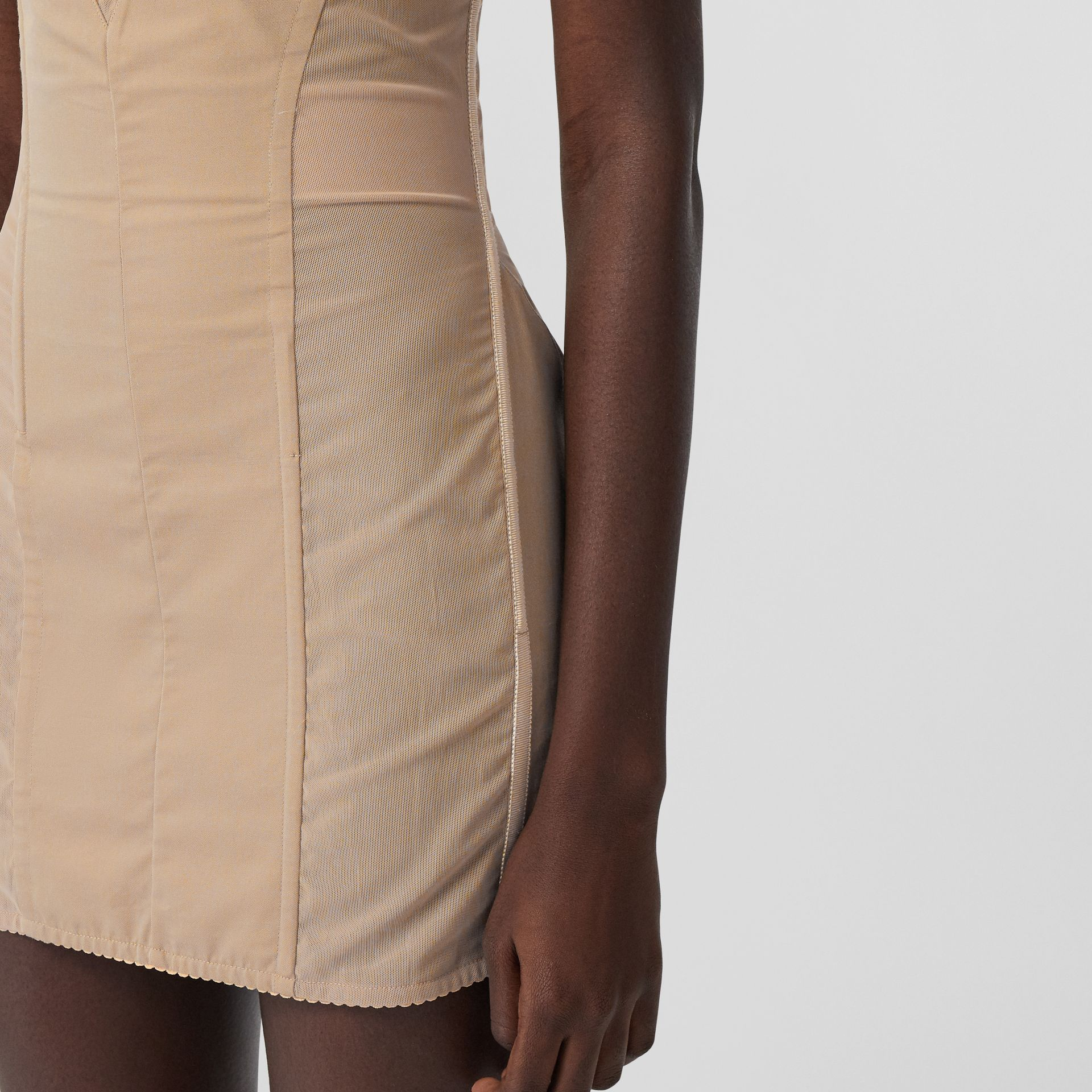 Cotton Gabardine Corset Dress in Honey - Women | Burberry - gallery image 1