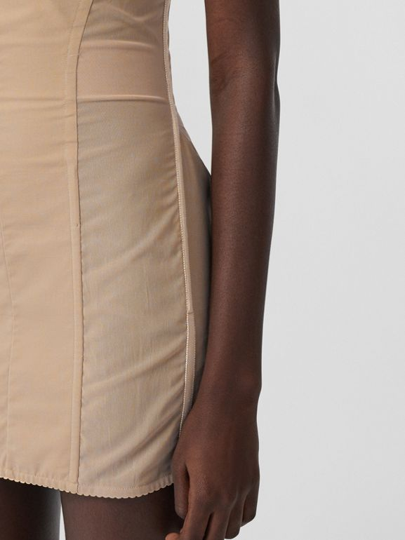 Cotton Gabardine Corset Dress in Honey - Women | Burberry - cell image 1