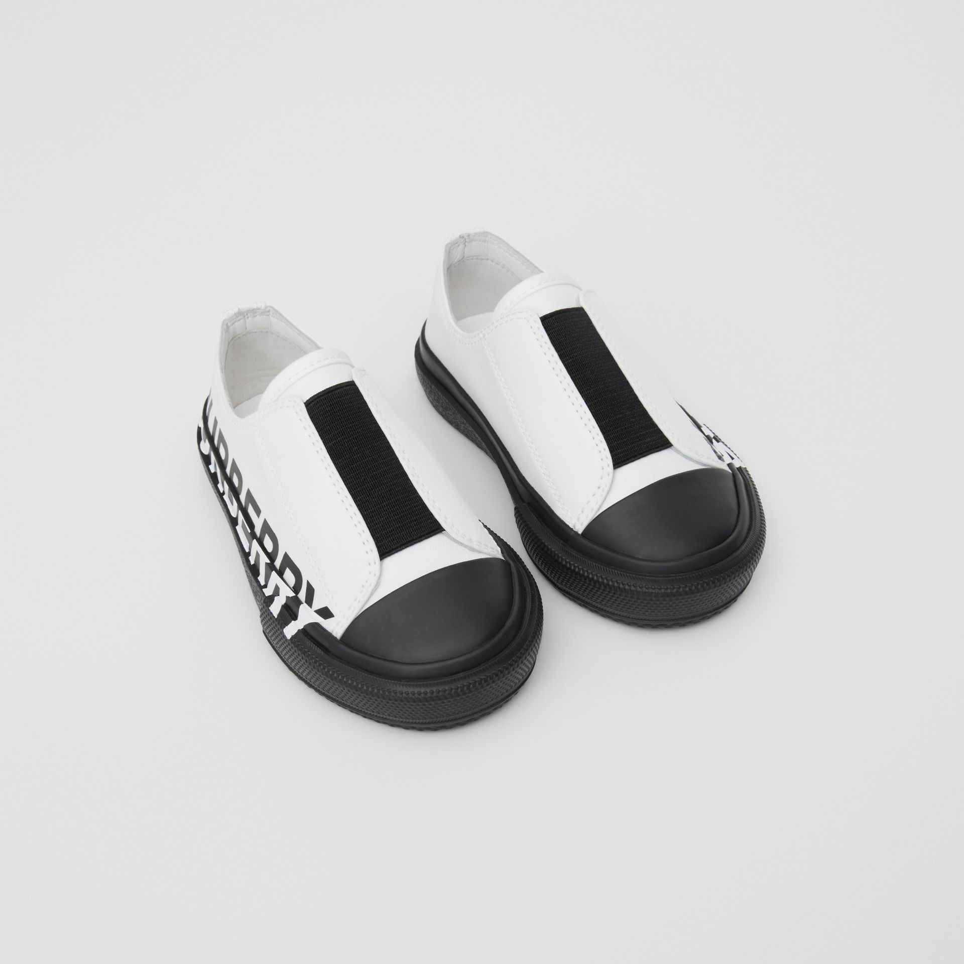Logo Print Two-tone Cotton Gabardine Slip-on Sneakers in Optic White/black - Children | Burberry - gallery image 0