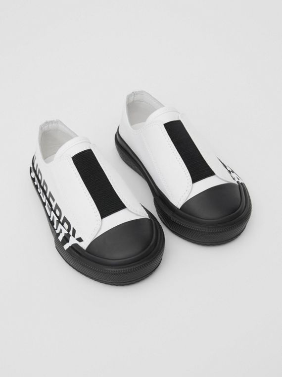 Logo Print Two-tone Cotton Gabardine Slip-on Sneakers in Optic White/black