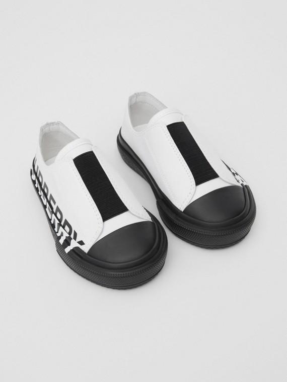 Sneakers sans lacets en gabardine de coton bicolore avec logo (Blanc Optique/noir)