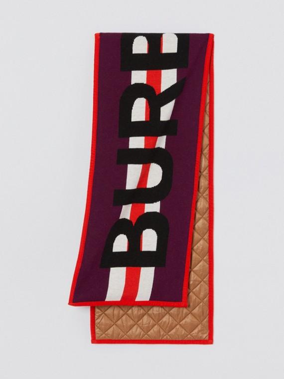 Logo Merino Wool Jacquard Scarf in Burgundy