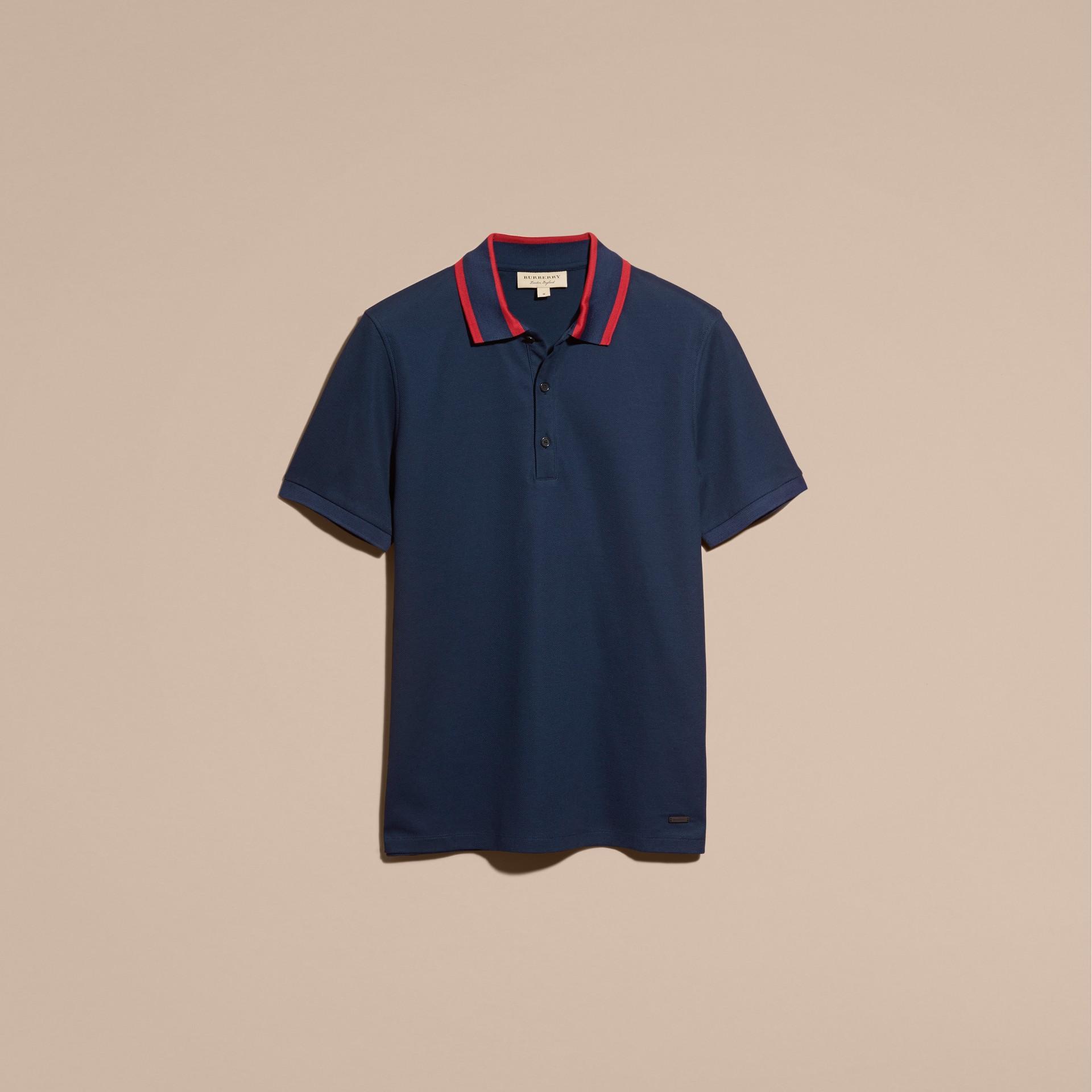 Navy blue Striped Collar Cotton Piqué Polo Shirt Navy Blue - gallery image 4