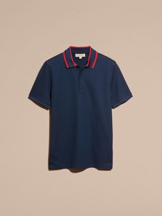 Navy blue Striped Collar Cotton Piqué Polo Shirt Navy Blue - cell image 3