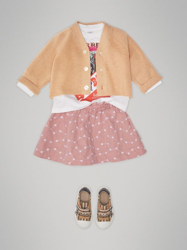 Cashmere Cotton Knit Cardigan in Peach - Children | Burberry - cell image 2