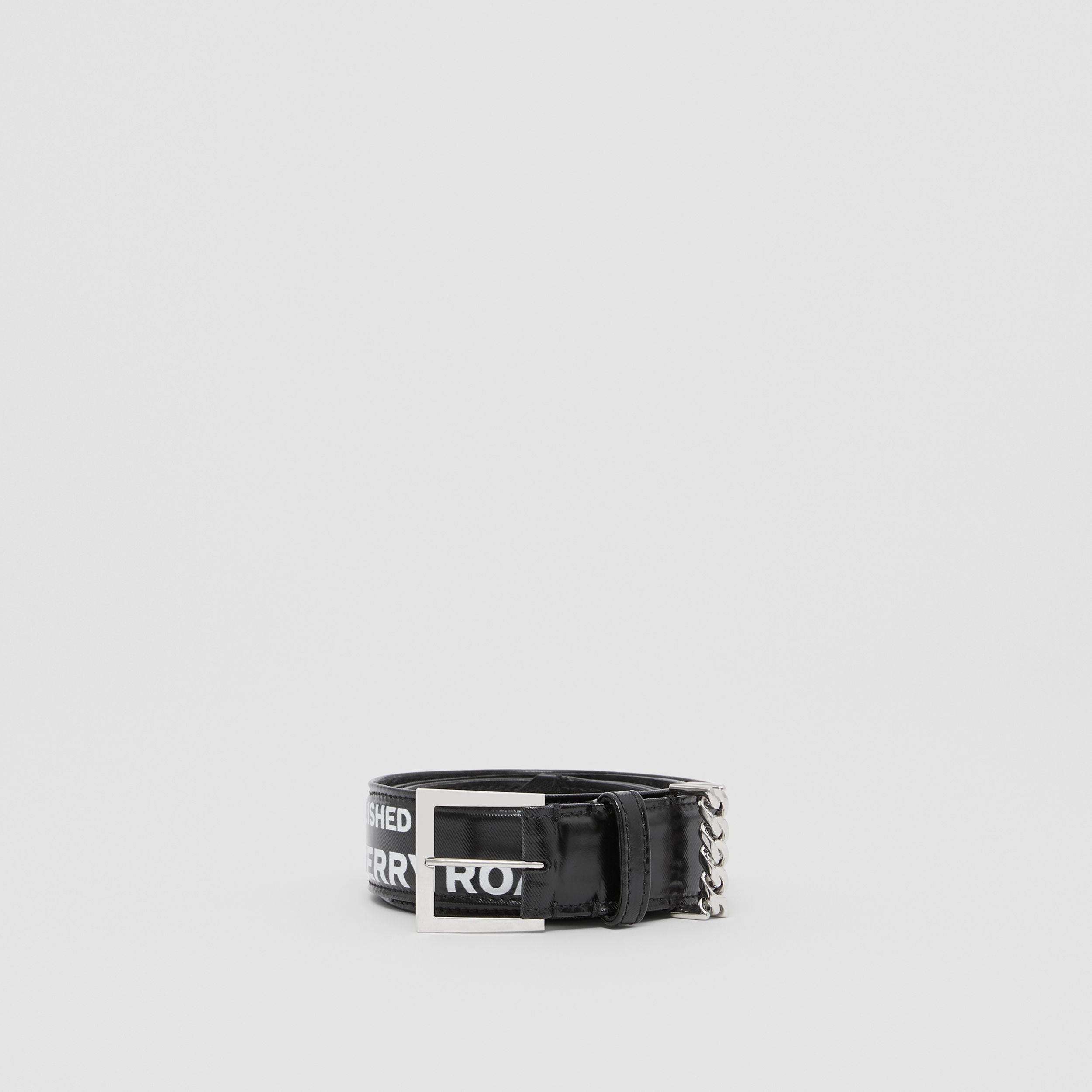 Chain Detail Horseferry Print Coated Canvas Belt in Black/palladium - Women | Burberry Australia - 4