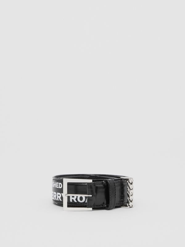 Chain Detail Horseferry Print Coated Canvas Belt in Black/palladium - Women | Burberry - cell image 3