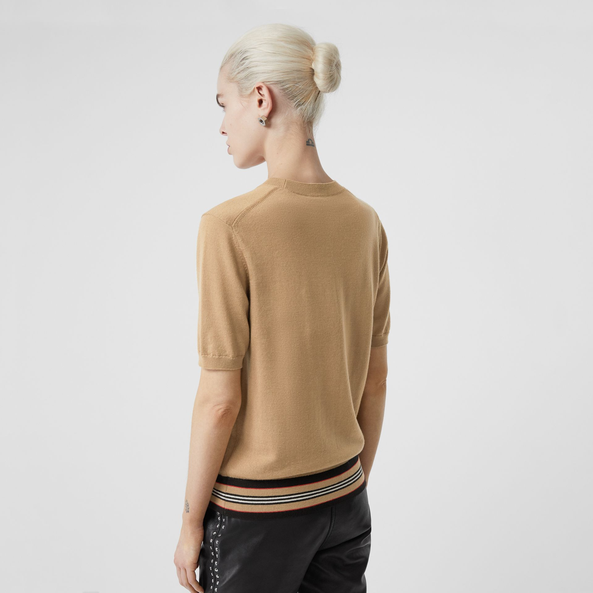 Short-sleeve Icon Stripe Detail Merino Wool Top in Camel - Women | Burberry Hong Kong S.A.R - gallery image 2