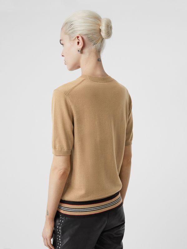 Short-sleeve Icon Stripe Detail Merino Wool Top in Camel - Women | Burberry United Kingdom - cell image 2