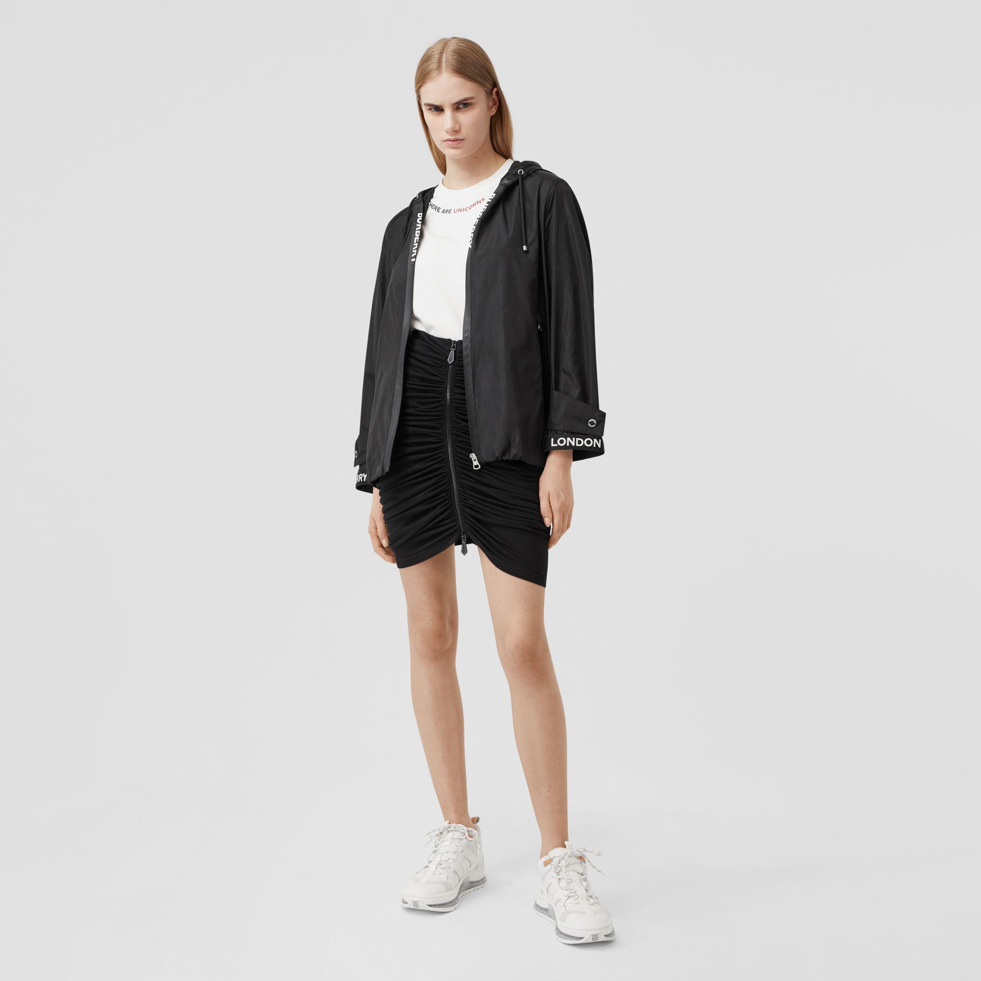 Logo Tape ECONYL® Hooded Jacket in Black - Women | Burberry United States - gallery image 3