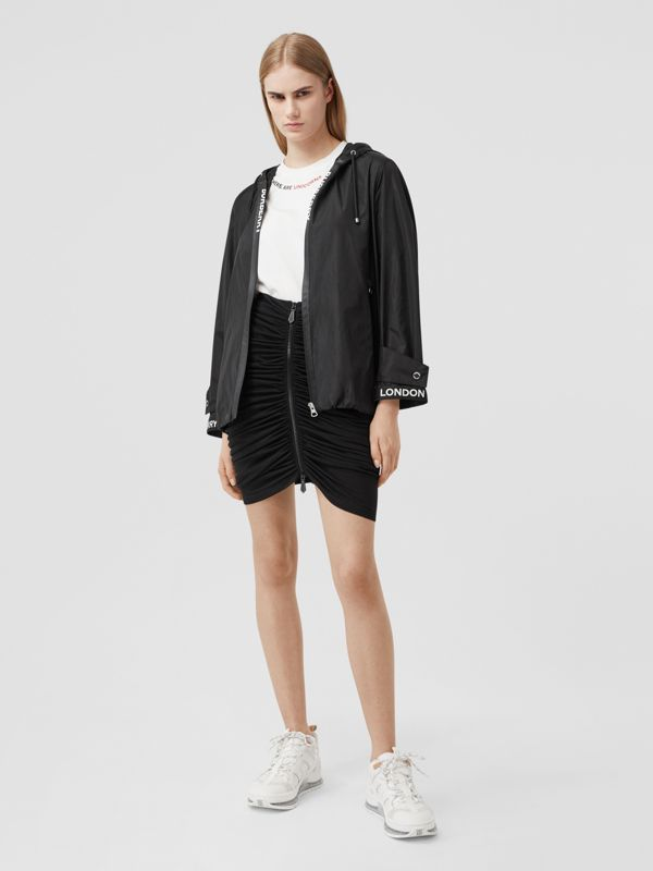 Logo Tape ECONYL® Hooded Jacket in Black - Women | Burberry United States - cell image 3